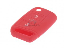 Sleutelhoesje Seat - 3 knoppen - materiaal soft rubber - kleur Rood - after market product